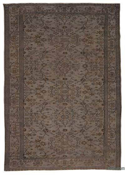 Boyalı El Dokuma Vintage Halı - 186 cm x 264 cm