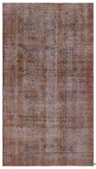 Boyalı El Dokuma Vintage Halı - 113 cm x 195 cm