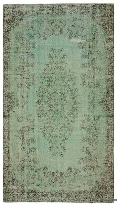 """Green Over-dyed Turkish Vintage Rug - 5' 6"""" x 9' 11"""" (66 in. x 119 in.)"""