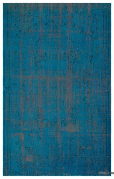 Boyalı El Dokuma Vintage Halı - 168 cm x 257 cm