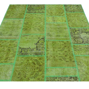 """Green Patchwork Hand-Knotted Turkish Rug - 5' 3"""" x 7' 7"""" (63 in. x 91 in.) - K0031955"""