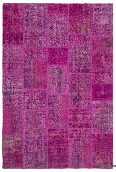 """Over-dyed Turkish Patchwork Rug - 6'3"""" x 9'2"""" (75 in. x 110 in.)"""