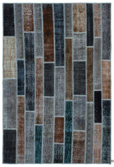 "Over-dyed Turkish Patchwork Rug - 5'2"" x 7'8"" (62 in. x 92 in.)"