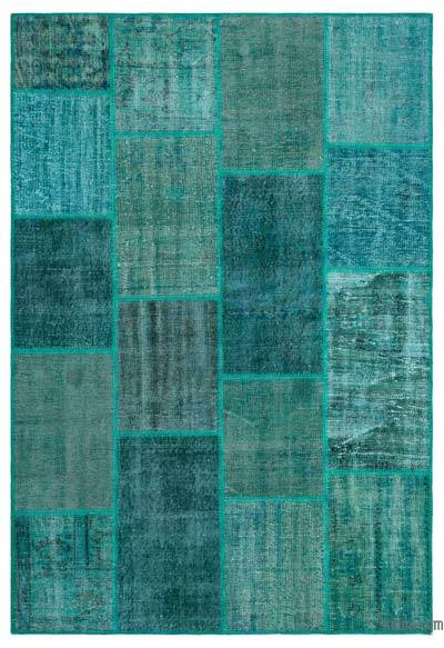 """Over-dyed Turkish Patchwork Rug - 5'3"""" x 7'7"""" (63 in. x 91 in.)"""