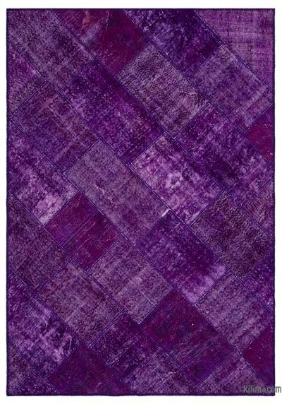 "Over-dyed Turkish Patchwork Rug - 5'3"" x 7'7"" (63 in. x 91 in.)"