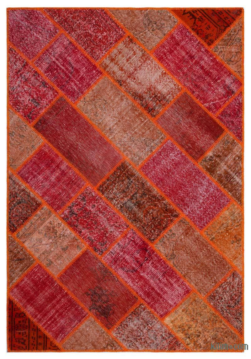"""Red, Orange Patchwork Hand-Knotted Turkish Rug - 5' 3"""" x 7' 7"""" (63 in. x 91 in.) - K0032148"""
