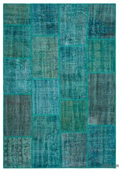 "Over-dyed Turkish Patchwork Rug - 5'2"" x 7'7"" (62 in. x 91 in.)"