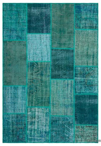 """Over-dyed Turkish Patchwork Rug - 5'2"""" x 7'7"""" (62 in. x 91 in.)"""