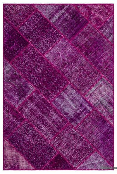 """Fuchsia Patchwork Hand-Knotted Turkish Rug - 3' 11"""" x 5' 11"""" (47 in. x 71 in.)"""