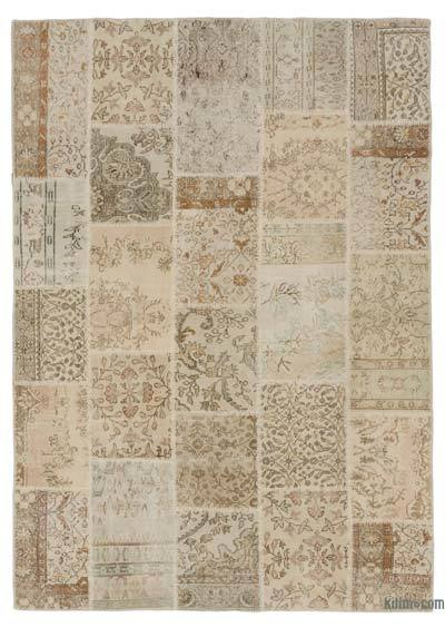 """Over-dyed Turkish Patchwork Rug - 6'5"""" x 9'3"""" (77 in. x 111 in.)"""
