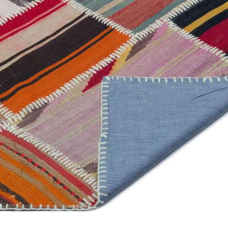 """Multicolor Patchwork Kilim Rug - 6' 2"""" x 9' 4"""" (74 in. x 112 in.) - K0032849"""