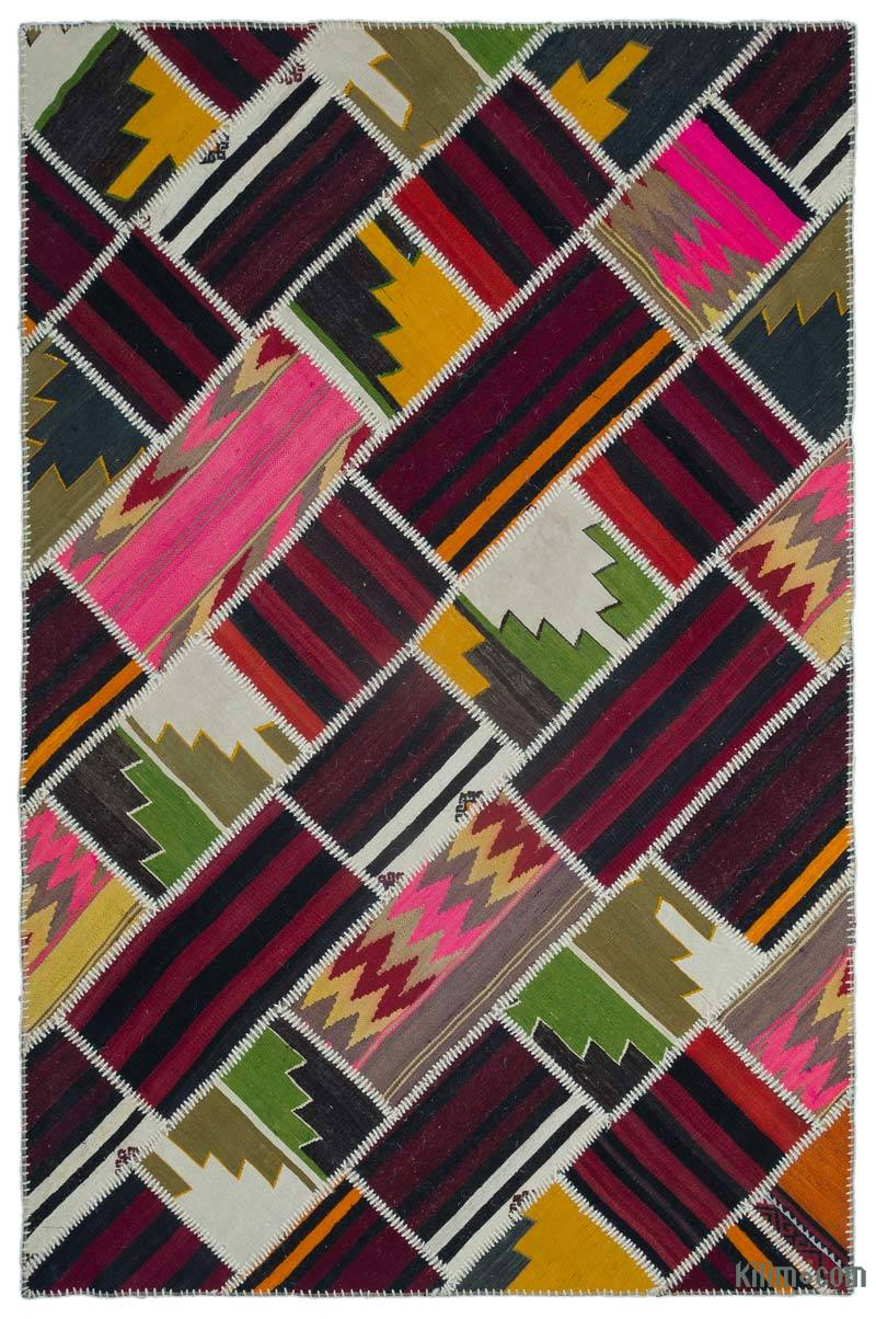 """Multicolor Patchwork Kilim Rug - 5' 3"""" x 7' 10"""" (63 in. x 94 in.) - K0033041"""