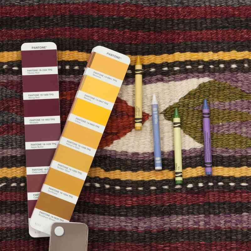 """Multicolor Vintage Konya Kilim Runner - 4' 5"""" x 10' 1"""" (53 in. x 121 in.) - K0033086"""