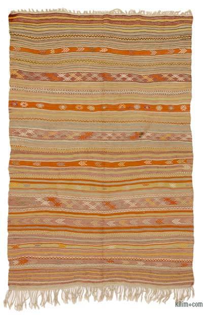 "Vintage Fethiye Kilim Rug - 4' 11"" x 7' 3"" (59 in. x 87 in.)"