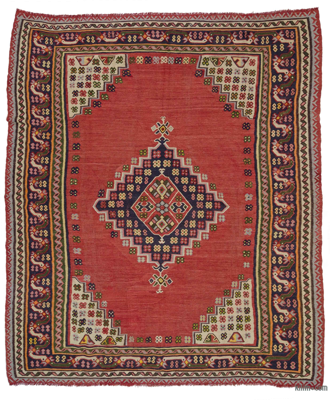 K0033101 Red Vintage Ushak Kilim Rug