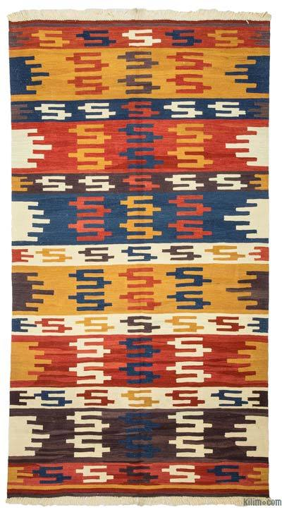 "Multicolor New Handwoven Turkish Kilim Rug - 4' 7"" x 8' 6"" (55 in. x 102 in.)"