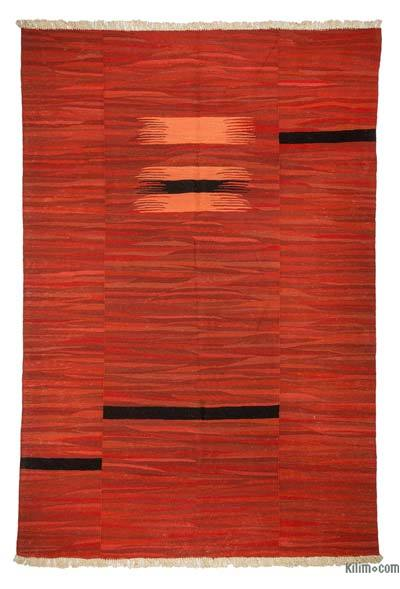 "Red New Handwoven Turkish Kilim Rug - 6'  x 8' 10"" (72 in. x 106 in.)"