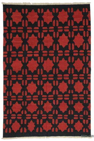 "Red, Black New Handwoven Turkish Kilim Rug - 6' 8"" x 9' 11"" (80 in. x 119 in.)"