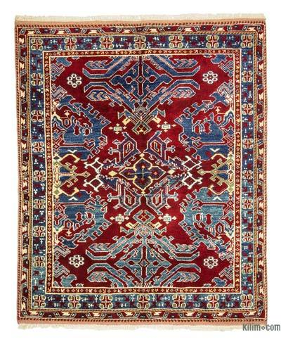 "Red, Blue New Turkish Pile Rug - 5' 5"" x 6' 4"" (65 in. x 76 in.)"