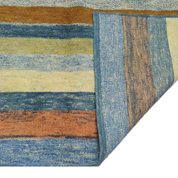 """Blue, Green New Turkish Pile Rug - 3' 11"""" x 5' 10"""" (47 in. x 70 in.) - K0033172"""