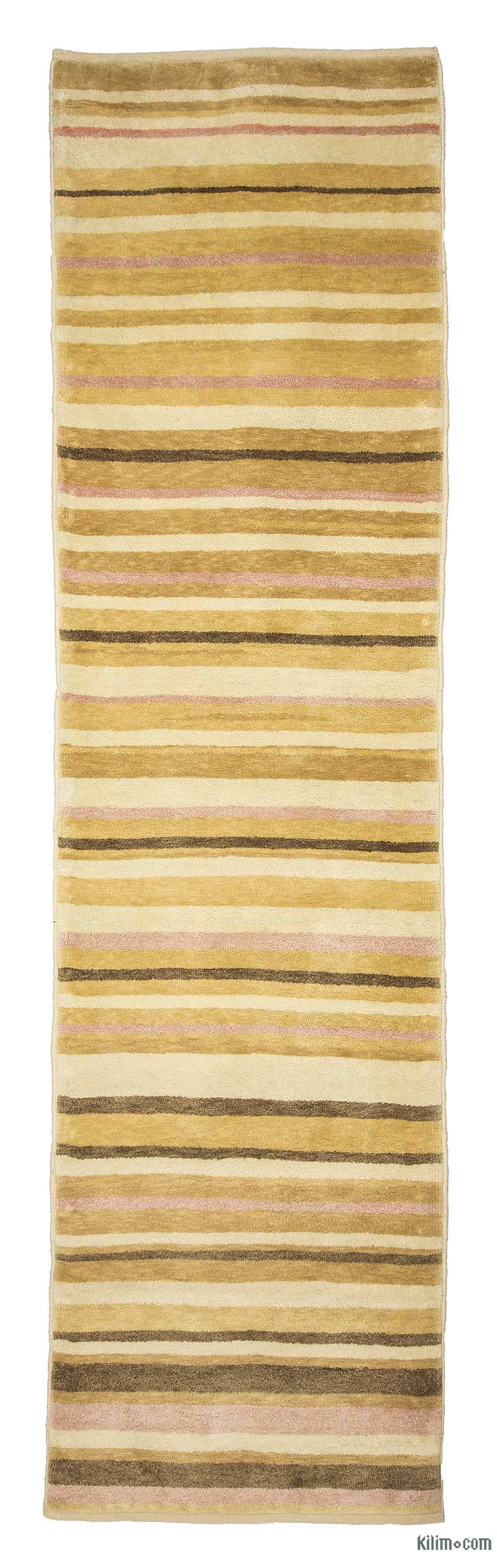 """Yellow New Turkish Pile Rug - 2' 7"""" x 9' 9"""" (31 in. x 117 in.) - K0033174"""