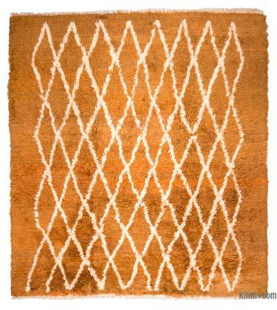 "Yellow, Beige New Turkish Tulu Rug - 8' 4"" x 9' 2"" (100 in. x 110 in.)"