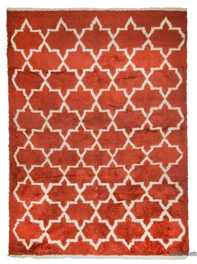 """Red, Beige Moroccan Style Hand-Knotted Tulu Rug - 8' 8"""" x 11' 10"""" (104 in. x 142 in.)"""