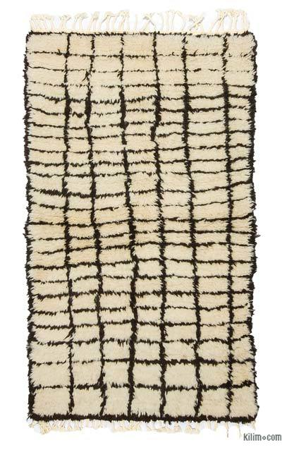 "Beige, Brown New Turkish Tulu Rug - 3' 3"" x 5' 8"" (39 in. x 68 in.)"