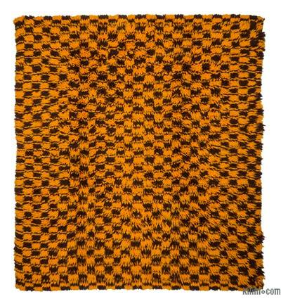 "Brown, Yellow New Turkish Tulu Rug - 6' 7"" x 7' 3"" (79 in. x 87 in.)"