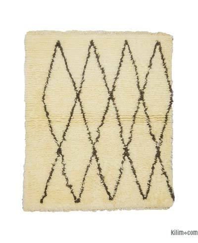 "Beige, Brown New Turkish Tulu Rug - 4'  x 4' 9"" (48 in. x 57 in.)"