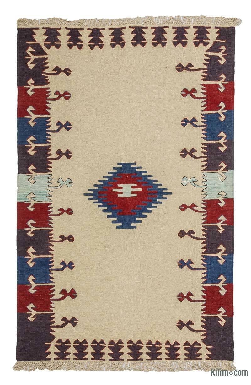 Beige, Multicolor Nueva Alfombra Turca Kilim - K0033238