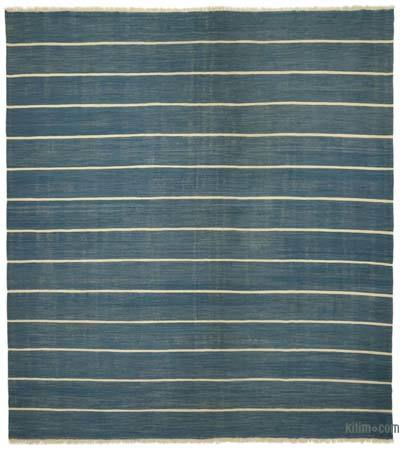 Blue New Handwoven Turkish Kilim Rug - 15'  x 16'  (180 in. x 192 in.)