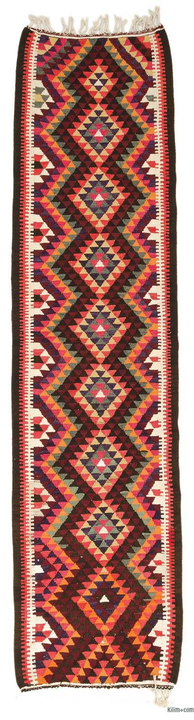 "Multicolor Vintage Turkish Kilim Runner - 3' 1"" x 11' 11"" (37 in. x 143 in.)"