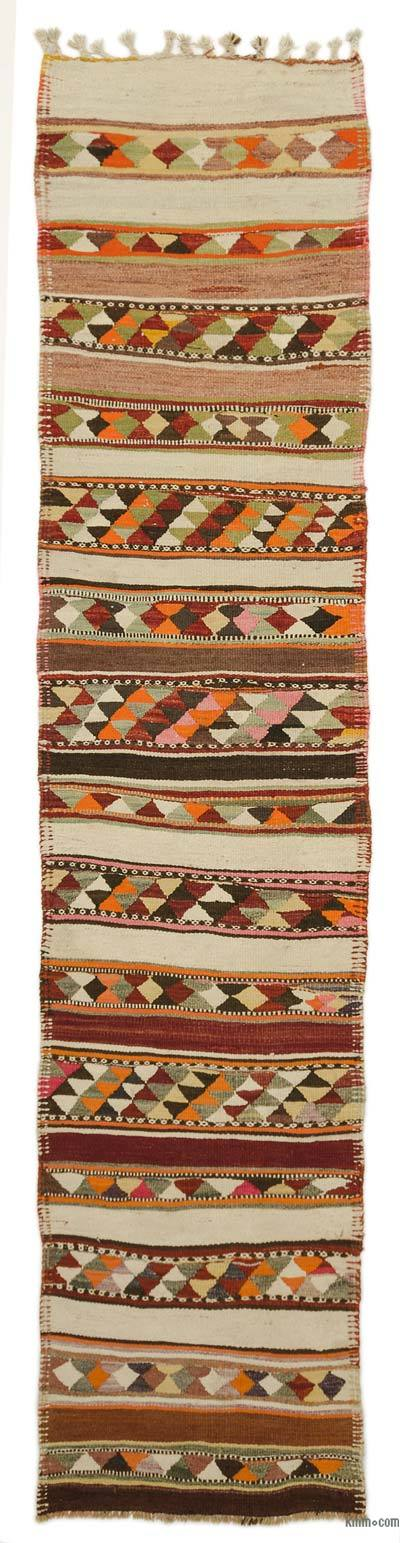 "Vintage Turkish Kilim Runner - 2' 8"" x 12'  (32 in. x 144 in.)"