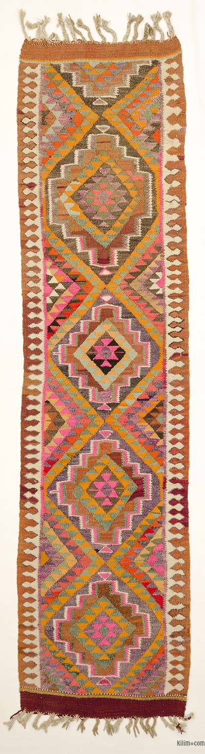 "Vintage Turkish Kilim Runner - 3'  x 11' 9"" (36 in. x 141 in.)"