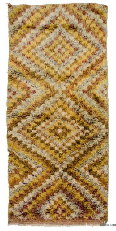 "Multicolor Vintage Anatolian Tulu Rug - 4'  x 8' 10"" (48 in. x 106 in.)"