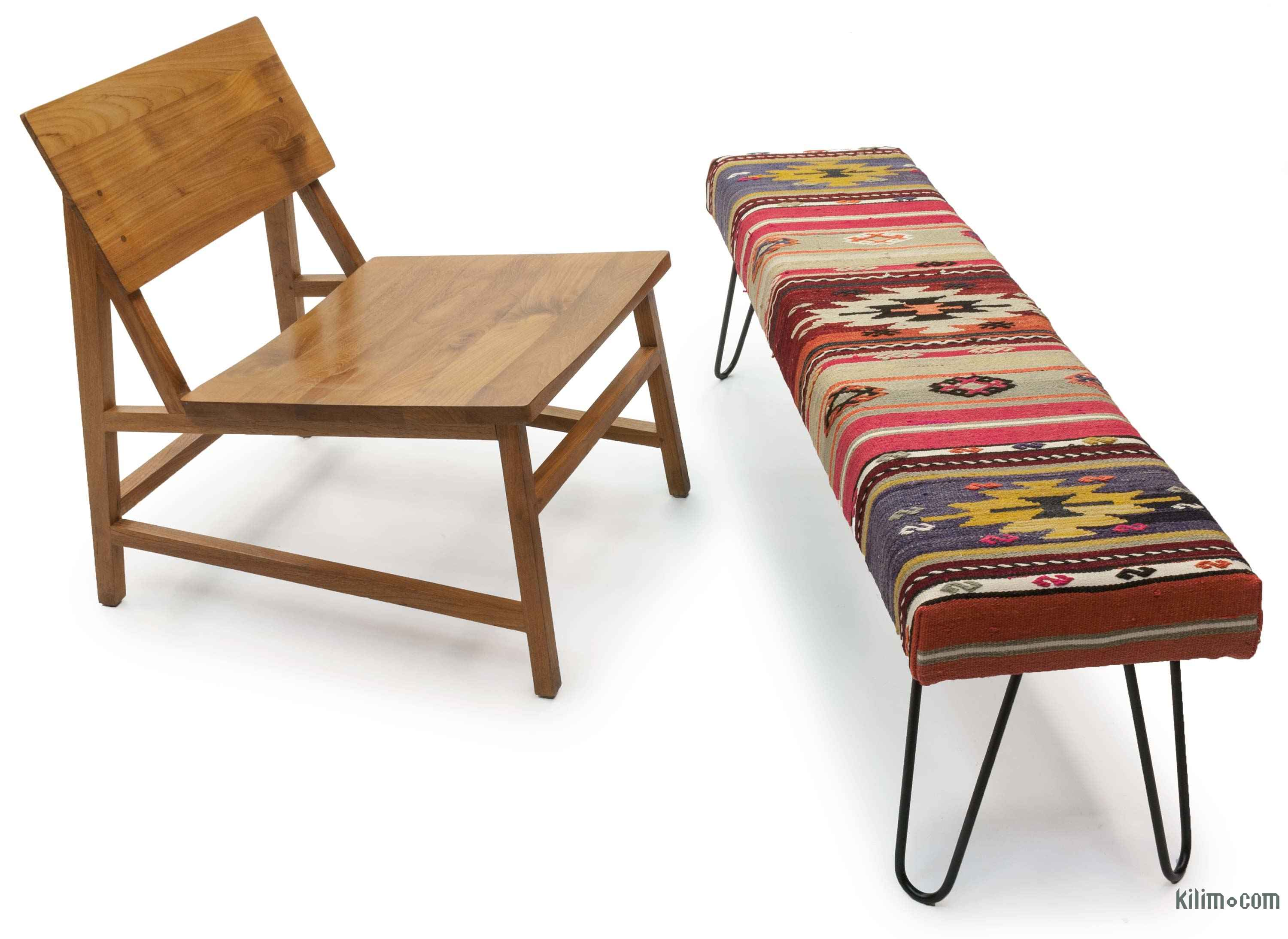 Chic Antique 19th Century Kilim Covered Ottoman Bench For ... |Kilim Ottoman Bench