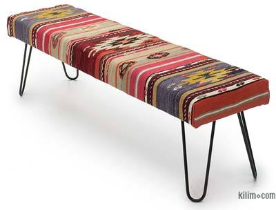 Kilim Bench with Hairpin Legs