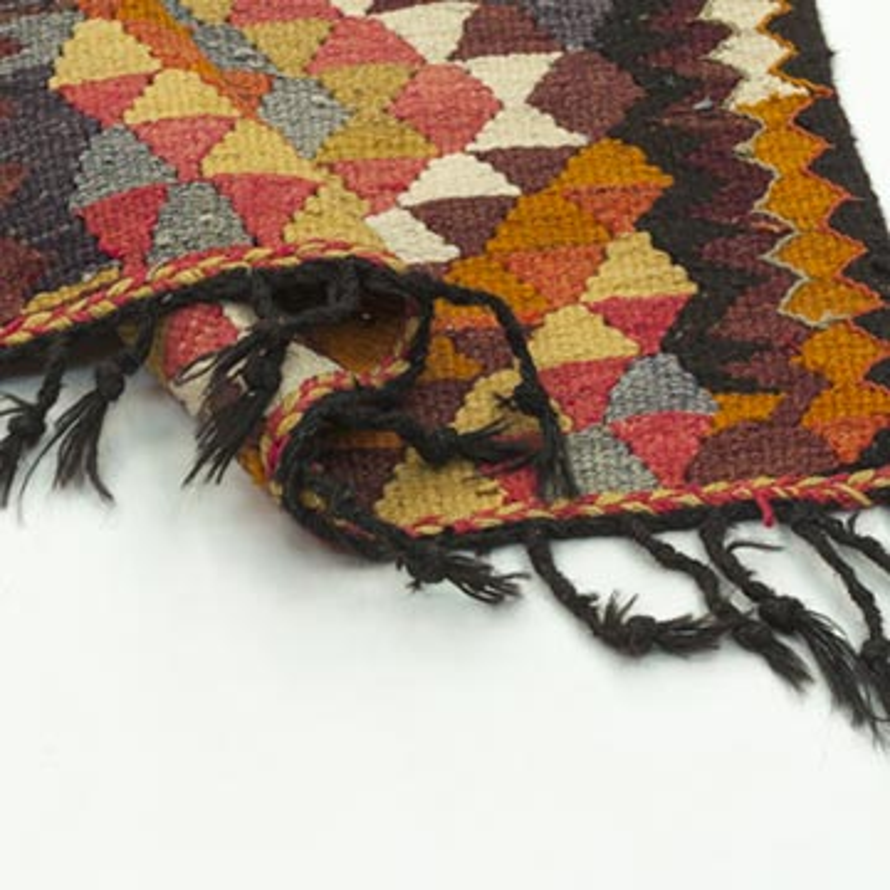 "Multicolor Vintage Turkish Kilim Runner - 2' 11"" x 12' 3"" (35 in. x 147 in.) - K0033756"