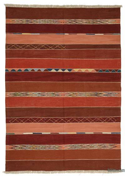 "Red New Handwoven Turkish Kilim Rug - 6' 9"" x 9' 9"" (81 in. x 117 in.)"