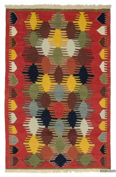 "New Handwoven Turkish Kilim Rug - 4' 2"" x 6' 1"" (50 in. x 73 in.)"