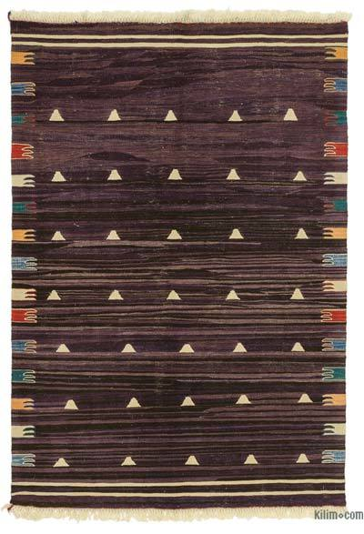"Purple New Handwoven Turkish Kilim Rug - 3' 11"" x 5' 9"" (47 in. x 69 in.)"