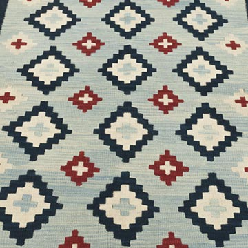"""Blue New Handwoven Turkish Kilim Rug - 4' 1"""" x 6' 2"""" (49 in. x 74 in.) - K0033786"""