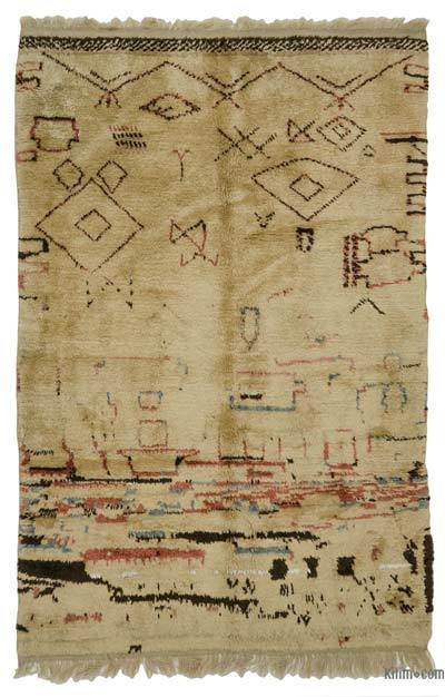 "Beige New Turkish Tulu Rug - 3' 11"" x 6' 2"" (47 in. x 74 in.)"