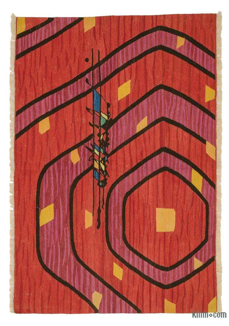 """Red New Handwoven Turkish Kilim Rug - 4' 6"""" x 6' 6"""" (54 in. x 78 in.) - K0033801"""