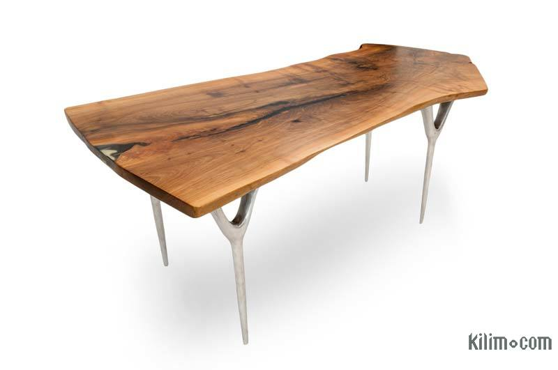 Walnut Slab Table with Cast Aluminium Legs - K0033816