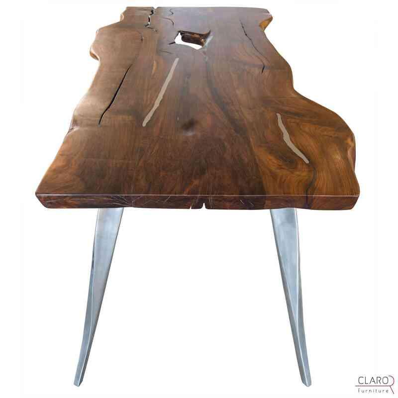 Walnut Table with Cast Aluminium Legs - K0033817