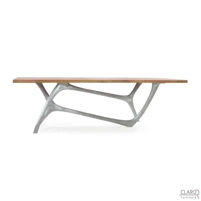 Custom Oak or Walnut Dining Table with Cast Aluminium Legs - K0033822