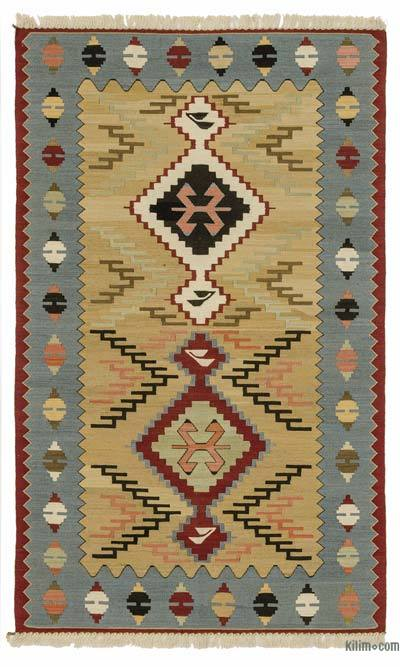 "New Handwoven Turkish Kilim Rug - 3' 2"" x 5' 3"" (38 in. x 63 in.)"