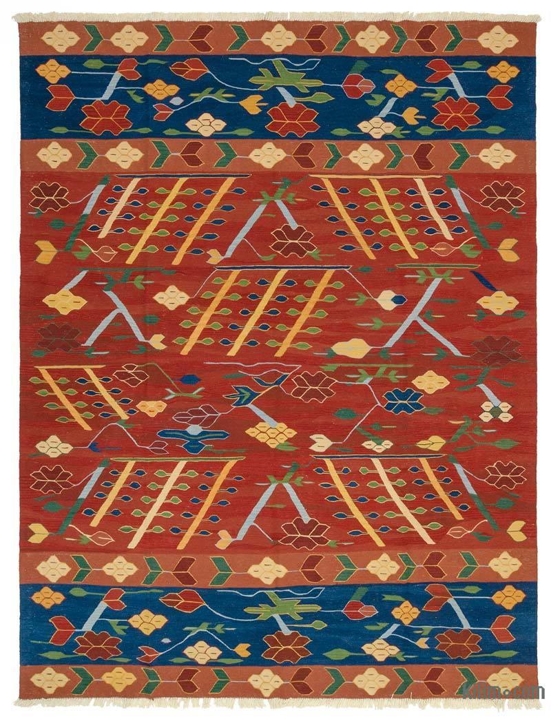 Rojo, Azul Nueva Alfombra Turca Kilim - K0033844